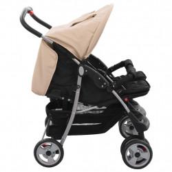 Sonata Бебешка количка за близнаци, таупе и черно, стомана - Детски превозни средства