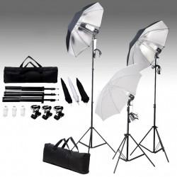 Комплект от студийни лампи с рефлектор и стативи, 24 вата - Обзавеждане на Бизнес обекти