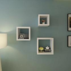 Комплект от 3 рафта за стена с прави ъгли и ретро дизайн - Етажерки