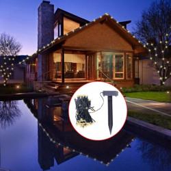 Гирлянд соларни LED лампички, топло бяла светлина, коледна украса - Сезонни и Празнични Декорации