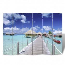 Sonata Сгъваем параван за стая, 240x170 см, плаж - Аксесоари за Всекидневна