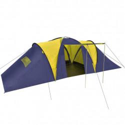 Палатка за къмпинг за 9 човека от полиестер, синьо и жълто - Палатки