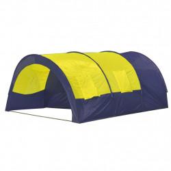 Палатка за къмпинг за 6 човека от полиестер, синьо и жълто - Палатки