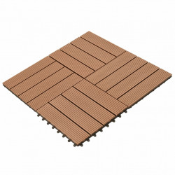 WPC декинг плочки кафяви, 30х30 см, 11 бр, 1 м² - Подови настилки