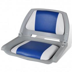Седалка за лодка със сгъваема облегалка и синьо-бяла възглавница - За яхти и лодки