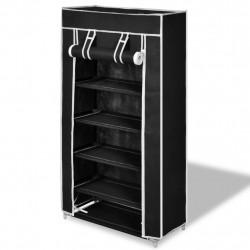 Платнен шкаф за обувки с покривало 58 х 28 х 106 см, черен - Шкафове за обувки
