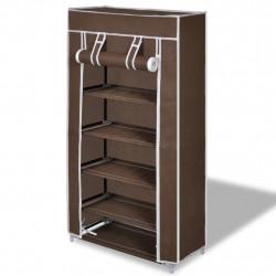 Платнен шкаф за обувки с покривало 58 х 28 х 106 см, кафяв - Шкафове за обувки