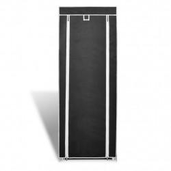 Платнен шкаф за обувки с покривало 57 х 29 х 162 см, черен - Шкафове за обувки