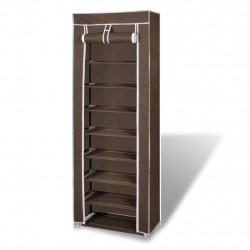 Платнен шкаф за обувки с покривало 57 х 29 х 162 см, кафяв - Шкафове за обувки