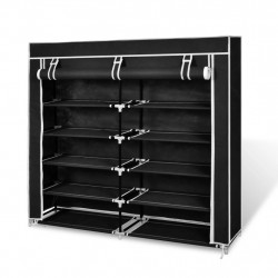 Sonata Платнен шкаф за обувки с покривало 115 х 28 х 110 см, черен - Шкафове за обувки