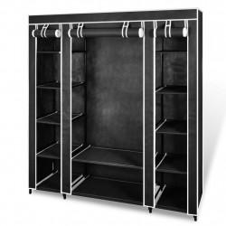 Sonata Текстилен гардероб с отделения и летви, 45 x 150 x176 см, черен - Гардероби