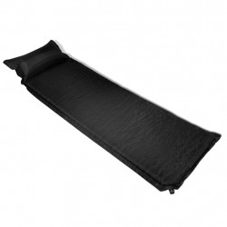 Въздушен матрак 6 x 66 x 200 см с възглавница, цвят черен - Аксесоари за пътуване
