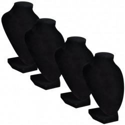 Поставки за бижута, черни, текстил, бюст, 9 x 8,5 x 15 см - 4 броя - Тоалетки