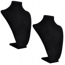 Поставки за бижута, черни, текстил, бюст, 23 x 11,5 x 30 см - 2 броя - Тоалетки