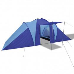 Палатка за къмпинг за 6 човека, цвят морско син/светло син - Палатки