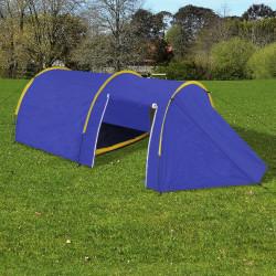 Водоустойчива палатка за къмпинг за 4 човека, цвят морско син/жълт - Палатки