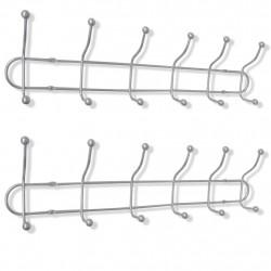 Sonata Стоманена стенна закачалка за дрехи с 12 куки, 2 бр - Закачалки