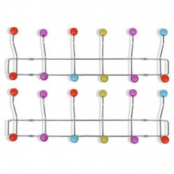 Sonata Цветна стенна закачалка за дрехи с 12 куки, 2 бр - Закачалки