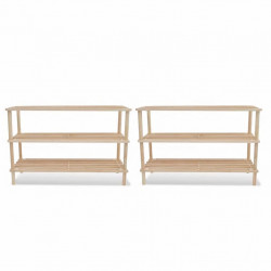 Стелажи за обувки с три рафта, дървени – 2 броя - Шкафове за обувки