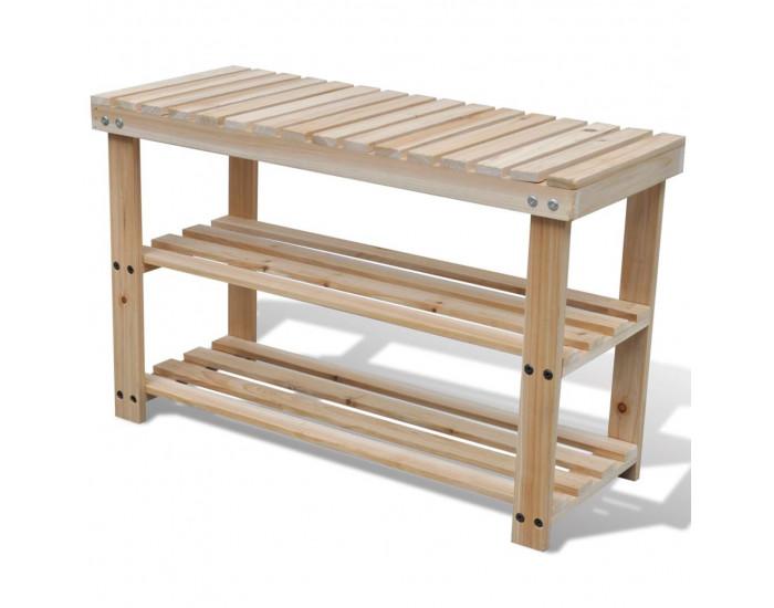 2 в 1 дървен стелаж за обувки с пейка -
