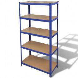 Стойка с рафтове за съхранение и организация на вещи, цвят син - Продукти за съхранение