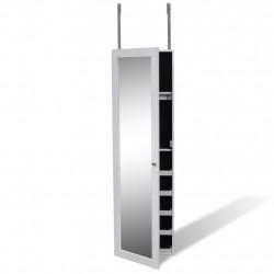 Дървен шкаф за бижута с огледало и 2 куки за закачане - Тоалетки