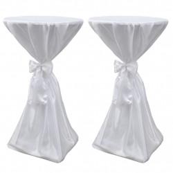 Покривки за маса с панделка, 60 см, бели – 2 броя - Маси