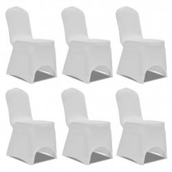 Еластични калъфи за столове, бели – 6 броя - Калъфи за мебели