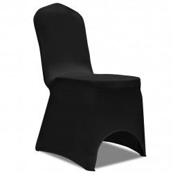 Еластични калъфи за столове, черни – 6 броя - Калъфи за мебели