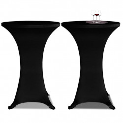 Еластични покривки за бар маси, диаметър 60 см, черни – 2 броя - Маси