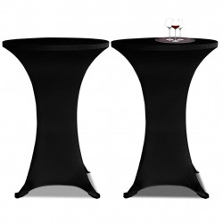 Еластични покривки за бар маси, диаметър 80 см, черни – 2 броя - Маси