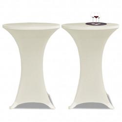 Еластични покривки за бар маси, диаметър 60 см, кремави – 2 броя - Маси