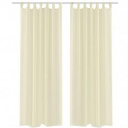 Кремави прозрачни завеси 140 х 175 см – 2 броя - Завеси, Пердета и Кoрнизи