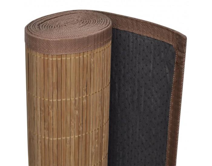 Правоъгълен кафяв бамбуков килим 80 х 200 см -