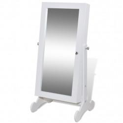 Шкаф за бижута с огледало и LED светлини, бял цвят - Тоалетки
