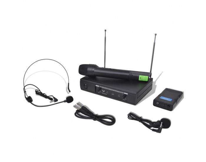 Приемник с 1 безжичен VHF микрофон и 1 безжични VHF слушалки -
