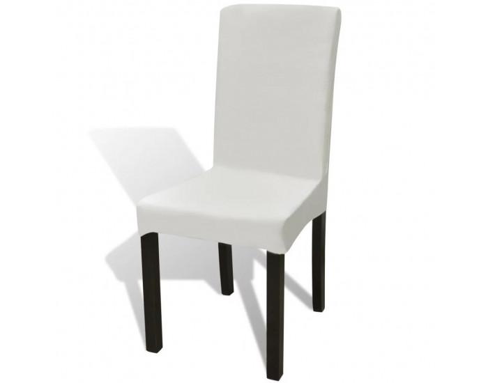 6 бр. кремави гладки разтегателни калъфи за столове -