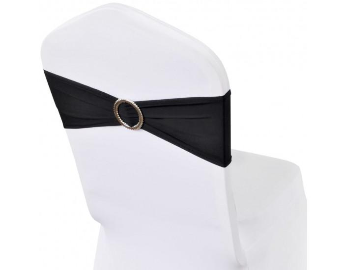 Разтегателна декоративна лента за стол с катарама, черно, 25 бр -
