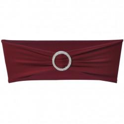 Разтегателна декоративна лента за стол с катарама, бордо, 25 бр - Калъфи за мебели