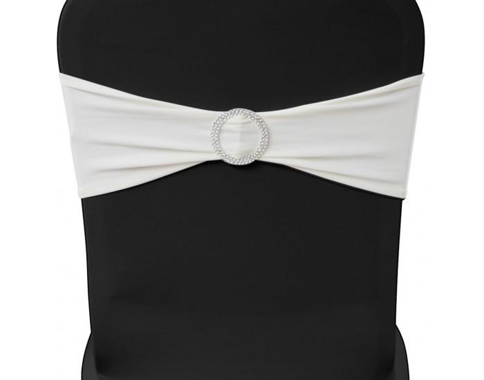 Разтегателна декоративна лента за стол с катарама, кремаво, 25 бр -