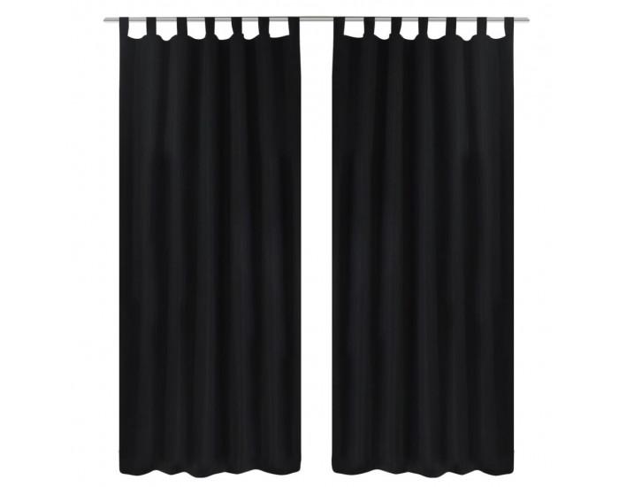 2 бр черни завеси от микросатен с