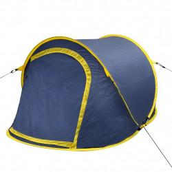 Саморазгъваща се палатка, двуместна, тъмносиньо и жълто - Палатки