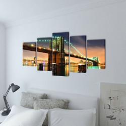 Декоративни панели за стена Бруклински мост, 100 x 50 см - Картини, Плакати, Пъзели