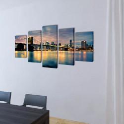 Декоративни панели за стена Бруклински мост-гледка от реката, 100x50см - Картини, Плакати, Пъзели