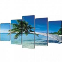 Декоративни панели за стена Плаж с палмово дърво, 100 x 50 см - Картини, Плакати, Пъзели