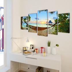 Декоративни панели за стена Плаж с хамак, 100 x 50 см - Картини, Плакати, Пъзели