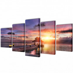 Декоративни панели за стена Беседка на плажа, 100 x 50 см - Картини, Плакати, Пъзели