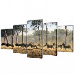 Декоративни панели за стена Зебри, 100 x 50 см - Картини, Плакати, Пъзели