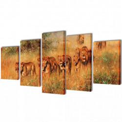 Декоративни панели за стена Лъвове, 100 x 50 см - Картини, Плакати, Пъзели