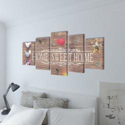Декоративни панели за стена Home Sweet Home, 100 x 50 см - Картини, Плакати, Пъзели